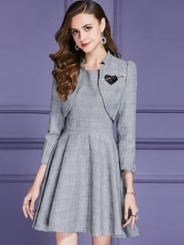 Houndstooth Two Piece Long Sleeve Skater Dress