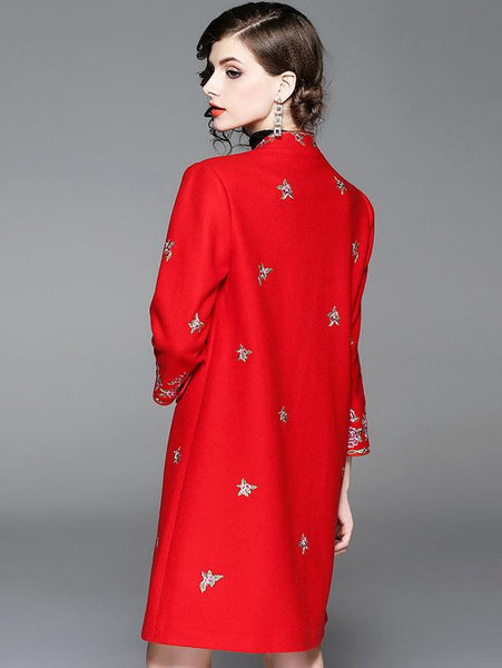 Vintage Stand Collar Long Sleeve Embroidery A-Line Dress