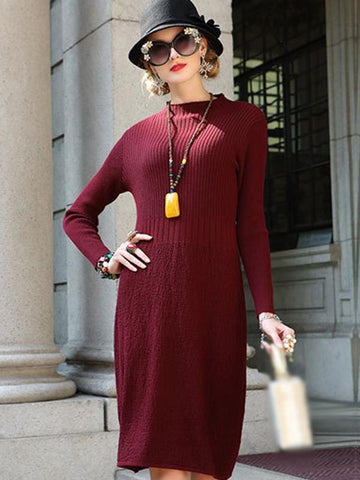 Stand Collar Long Sleeve Pure Color Sweater Dress