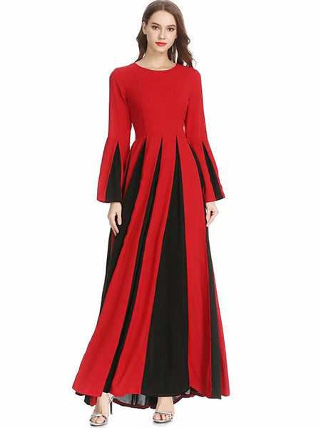 Hit Color O-Neck Long Sleeve Big Hem Maxi Dress