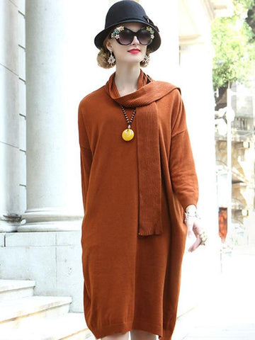 Chic Pure Color Long Sleeve Sweater Dress