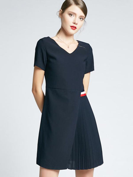 Pleated V-Neck Short Sleeve A-Line Dress