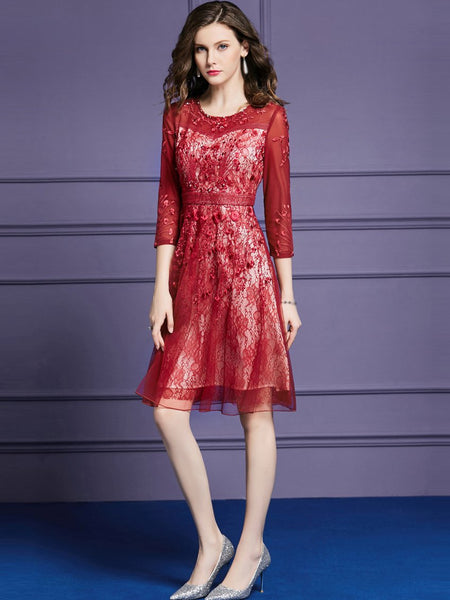 O-Neck 3/4 Sleeve Embroidery A-Line Dress