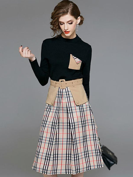 Plaid Stand Collar Long Sleeve Belted Skater Dress