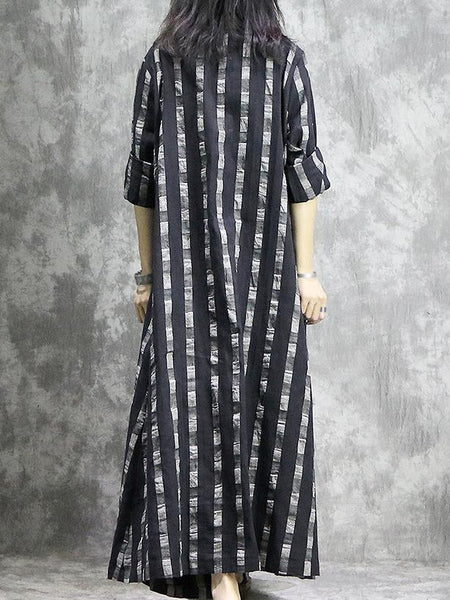 Stripe O-Neck Long Sleeve Pocket Loose Maxi Dress