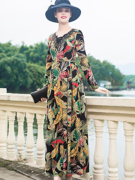 Multicolor V-Neck Long Sleeve Big Hem Maxi Dress
