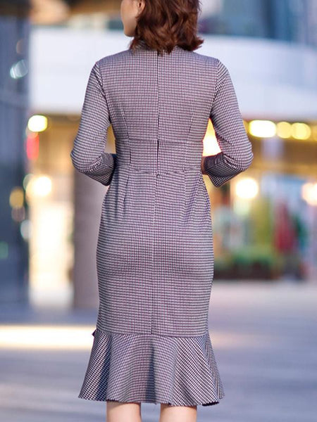 Houndstooth O-Neck 3/4 Sleeve Irregular Stitching Bodycon Dress