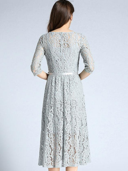 Elegant O-Neck Half Sleeve Lace A-Line Dress