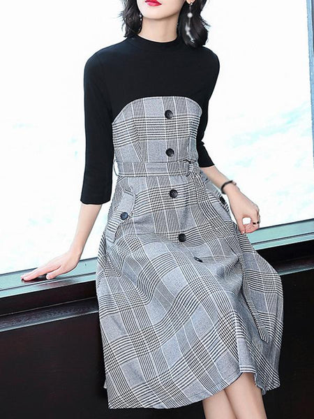 Stitching O-Neck 3/4 Sleeve Fake Two Piece Plaid Skater Dress