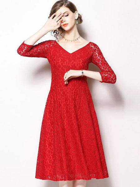 Lace V-Neck 3/4 Sleeve Pure Color Skater Dress