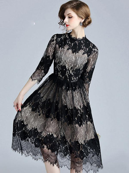 Fashion O-Neck 3/4 Sleeve Lace Fit & Flare Dress