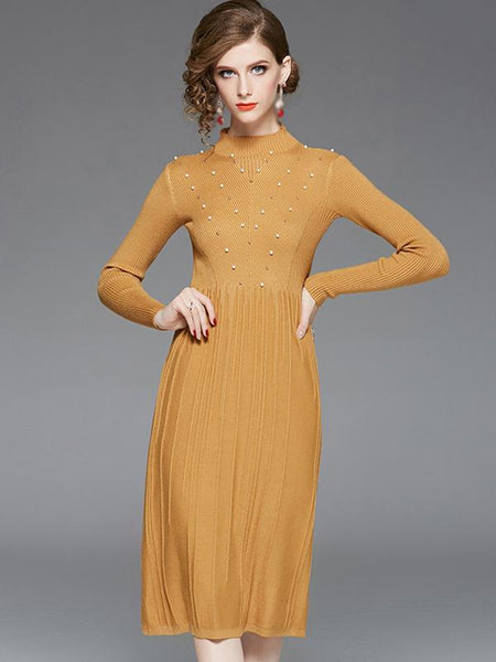 Stand Collar Long Sleeve Pure Color Fit & Flare Dress