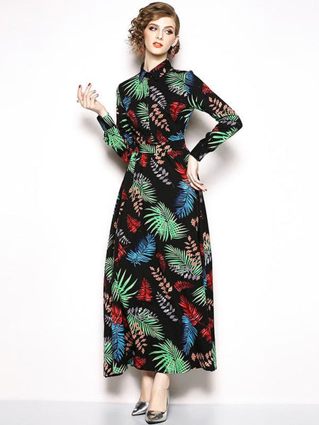 Multicolor Turn-Down Collar Long Sleeve Maxi Dress