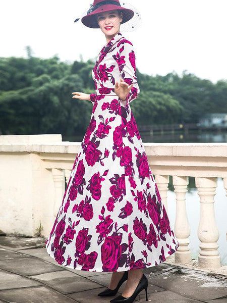 Lapel Collar Long Sleeve Big Hem Print Maxi Dress
