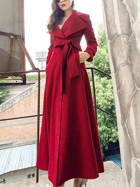 Stylish Lapel Collar Long Sleeve Pocket Coat Dress