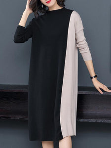 Hit Color Stand Collar Long Sleeve Sweater Dress