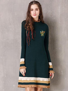 Stand Collar Long Sleeve Embroidery Skater Dress