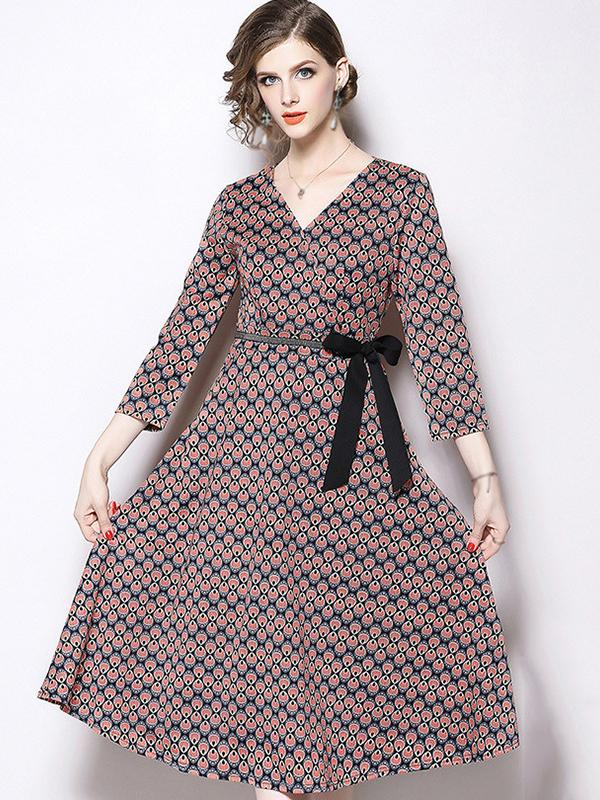 Chic V-Neck 3/4 Sleeve Bowknot A-Line Dress