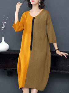 Scoop Neck 3/4 Sleeve Hit Color Loose Sweater Dress