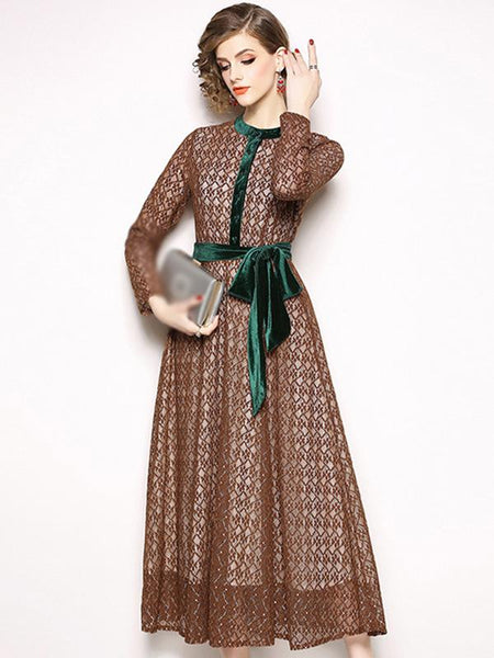 Lace Stitching O-Neck Long Sleeve Velour Maxi Dress
