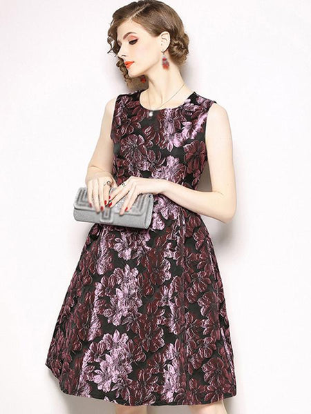 Vintage Print O-Neck Sleeveless A-Line Dress