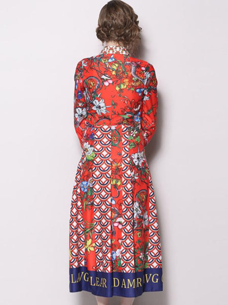 Vintage Print Turn-Down Collar Long Sleeve Fit & Flare Dress