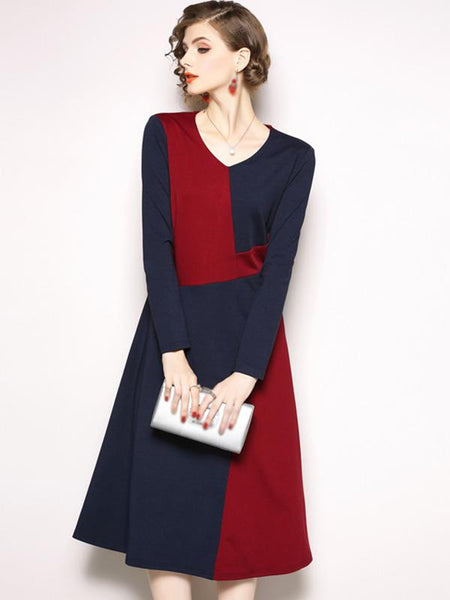 Stitching V-Neck Long Sleeve Fit & Flare Dress
