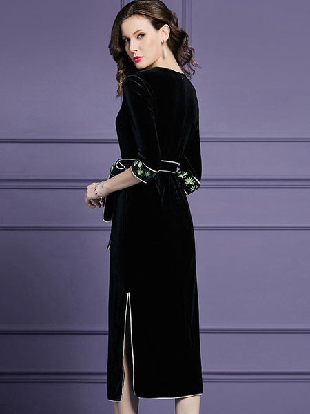 Embroidery O-Neck 3/4 Sleeve Lacing Slit Skater Dress