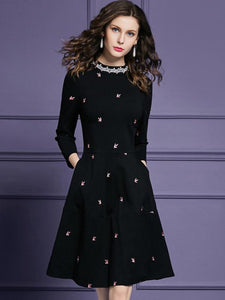 Stylish O-Neck 3/4 Sleeve Print Skater Dress
