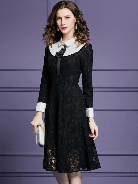 Stitching Turn-Down Collar Long Sleeve Lace Fit & Flare Dress