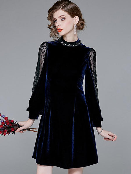 Stand Collar Puff Sleeve Lace Stitching Skater Dress