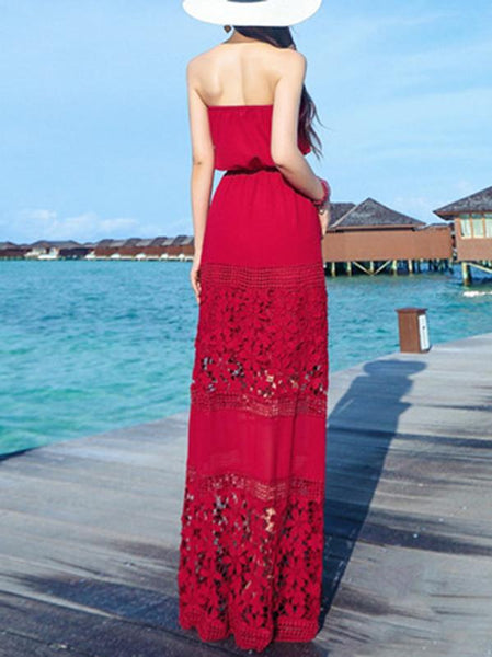 Red Sexy Elastic Waist Lace Stitching Maxi Dress