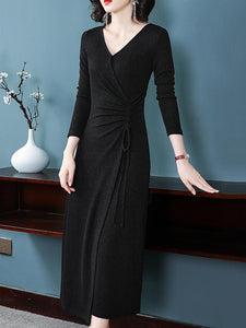 Black V-Neck Long Sleeve Lacing Maxi Dress