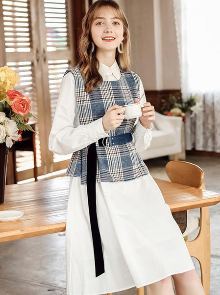 Two Piece Turn-Down Collar Long Sleeve A-Line Dress