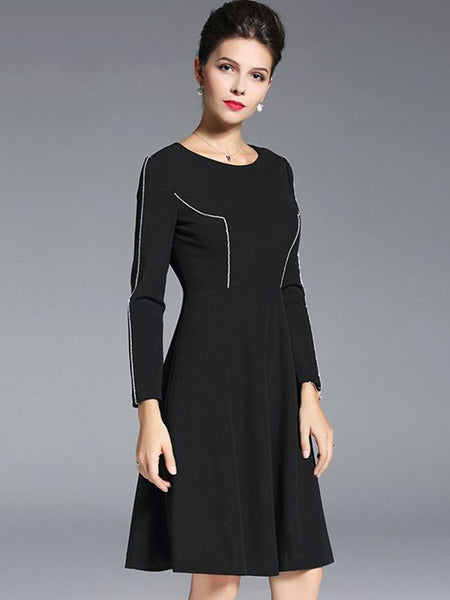 Simple O-Neck Long Sleeve Pure Color A-Line Dress
