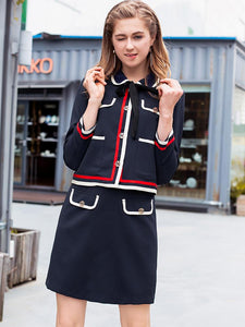Two Piece Turn-Down Collar 3/4 Sleeve Lacing Skater Dress