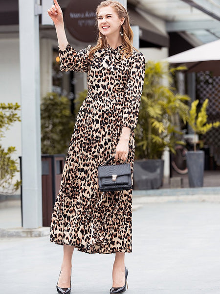 Leopard Print Lacing 3/4 Sleeve Skater Dress
