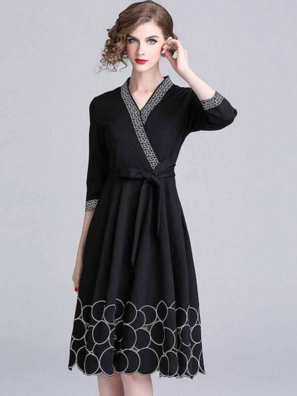 Black V-Neck 3/4 Sleeve Irregular Skater Dress