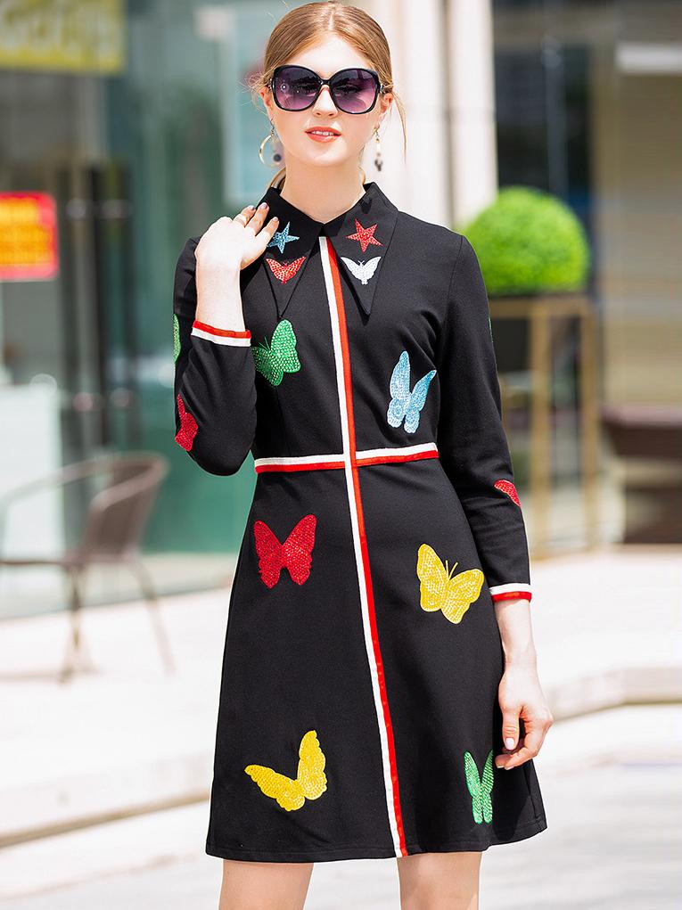 Embroidery Turn-Down Collar Long Sleeve Skater Dress