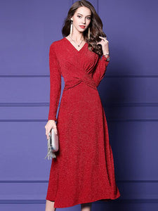 Simple V-Neck Long Sleeve Pure Color A-Line Dress