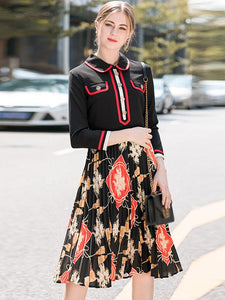 Stitching Turn-Down Collar 3/4 Sleeve Pleated Skater Dress