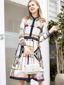Ethnic Print Turn-Down Collar 3/4 Sleeve Pleated A-Line Dress