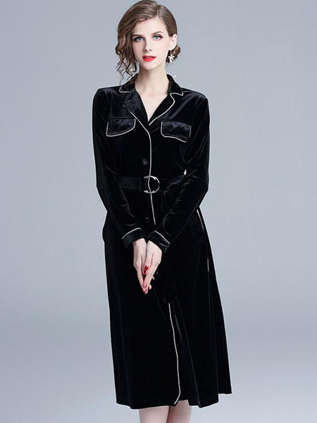 Velour Lapel Collar Long Sleeve Belted Skater Dress