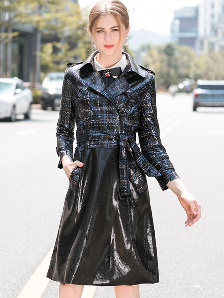 Double-Breasted Lapel Collar Long Sleeve Belted Coat A-Line Dress
