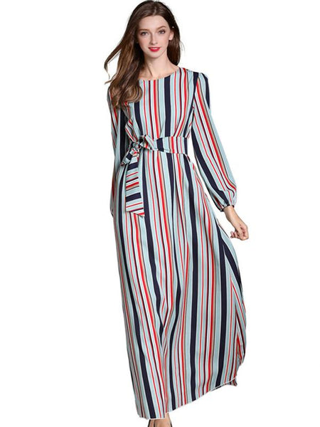 Vintage Stripe O-Neck Puff Sleeve Lacing Maxi Dress