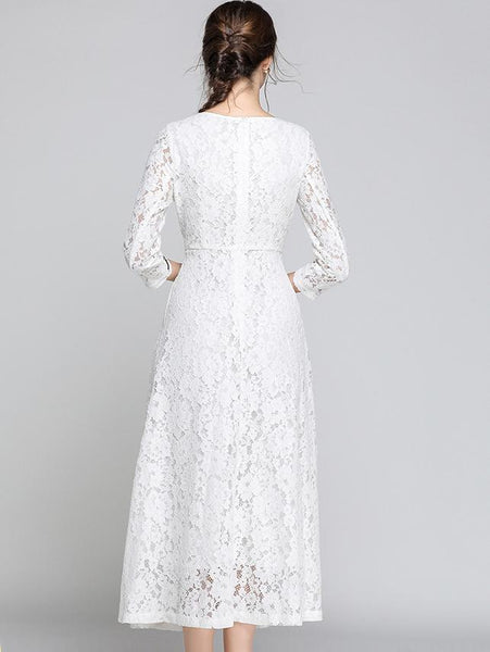Embroidery Lace O-Neck Long Sleeve Pure Color Maxi Dress