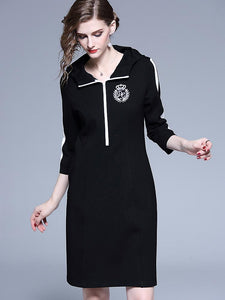 Casual Embroidery Badge Black & White Stitching Hooded Bodycon Dress