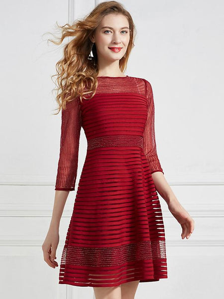 Fashion Chic Mesh Slimming 3/4 Sleeve O-Neck Fit & Flare Dress