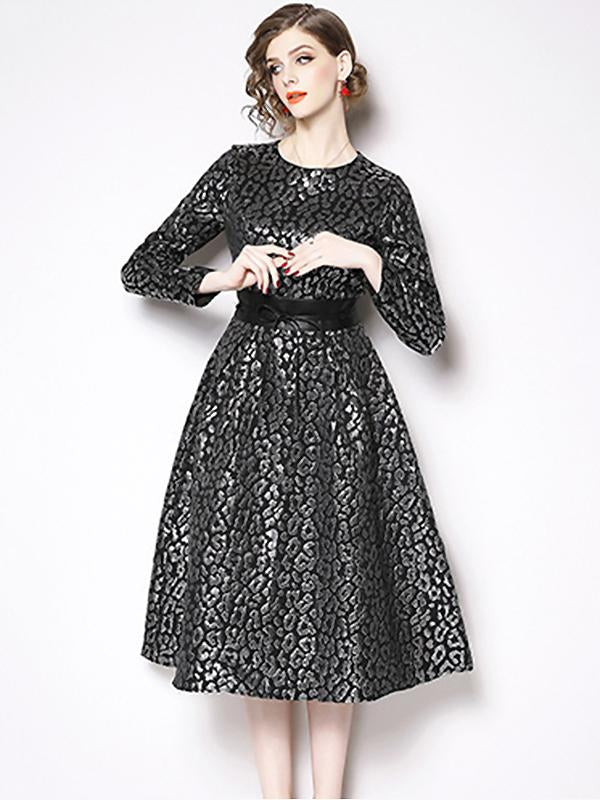 Lolita Fashion Print Long Sleeve Fit & Flare Dress