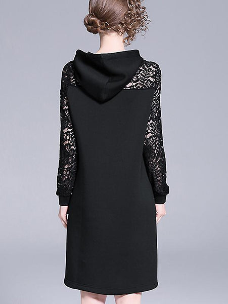 Hooded Lace Stitching Beaded Shift Dress